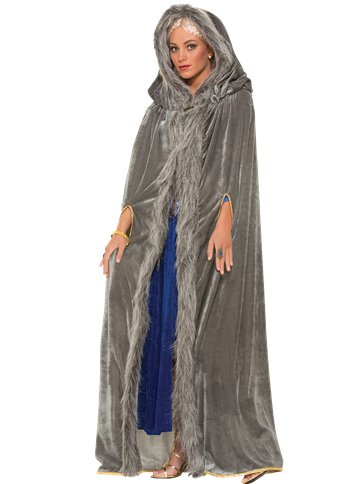 Grey Fur Trimmed Cape - Adult Costume front