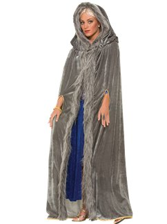 Grey Fur Trimmed Cape