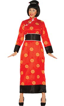 Red Ladies Chinese Coolie Hat With Plait Dress Fancy Fabric Up
