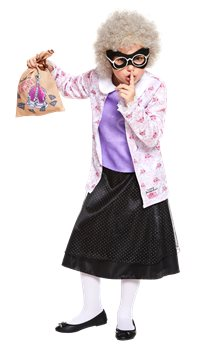 David Walliams Gangsta Granny with Wig - Child Costume
