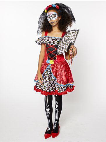 Sugar Skull Senorita Child And Teen Costume Party Delights