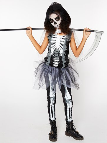 Girls Skeleton Reaper - Child and Teen Costume front