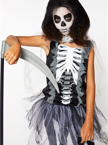 Girls Skeleton Reaper - Child and Teen Costume side