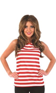 Red and White Striped Top - Adult Costume