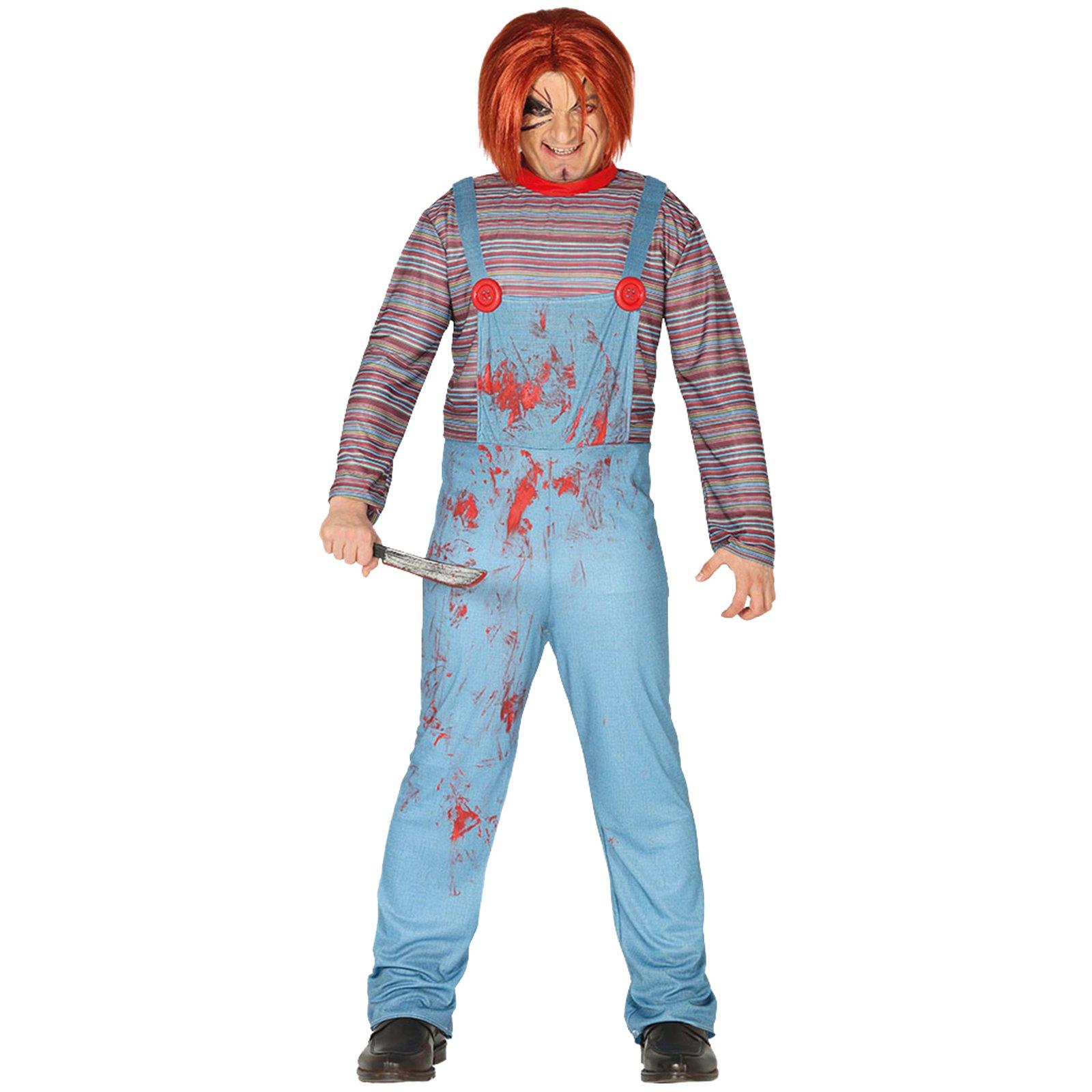 mens halloween killer doll costume adult chucky fancy dress   ebay