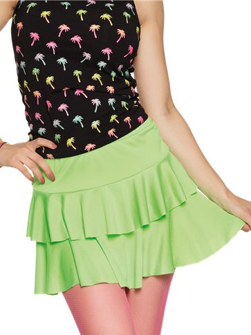 Neon Green Ruffled Mini Skirt - Adult Costumes front