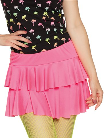 Neon Pink Ruffled Mini Skirt Adult Costume Party Delights