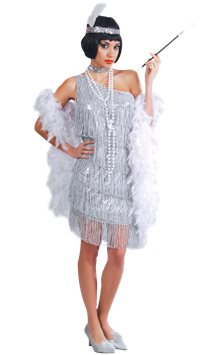 Silver Flapper Dress - Adult Costume
