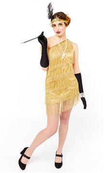 Gold Flapper Dress - Adult Costume