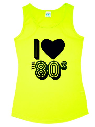 I Love the 80's Yellow Vest Top - Adult Costume front