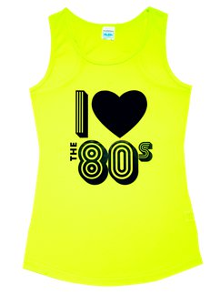 I Love the 80's Yellow Vest Top