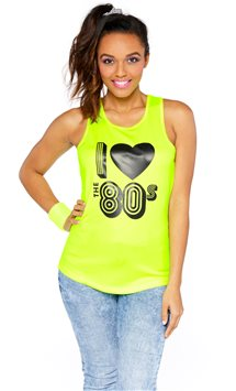 I Love the 80's Yellow Vest Top - Adult Costume