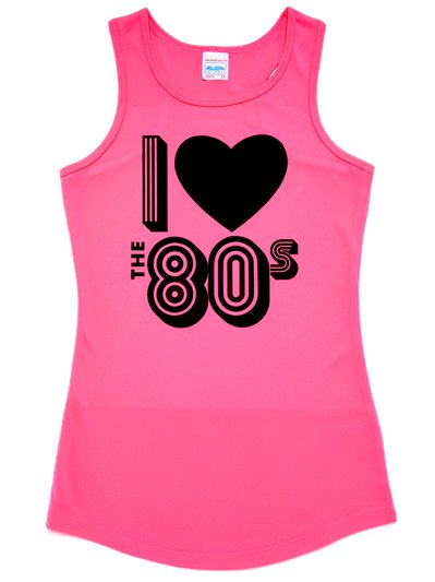 I Love the 80's Pink Vest Top - Adult Costume