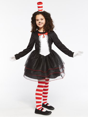 Dr. Seuss Cat in the Hat Dress - Child Costume back