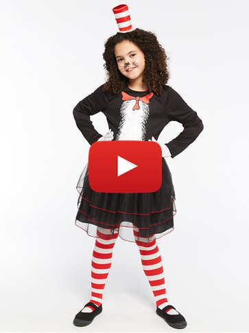 Dr. Seuss Cat in the Hat Dress - Child Costume video