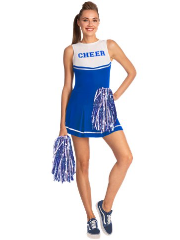Blue High School Cheerleader - Adult Costume front
