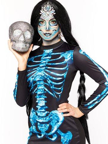 Womens Bare Bones Skeleton Halloween Costume Fancy Dress Outfit Adult Size 14-16