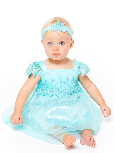Baby Elsa Aqua Lace Smock Dress - Baby Costume