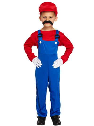 Red Super Plumber - Child Costume