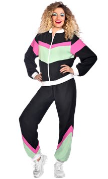 Black 80s Shell Suit - Adult Costume