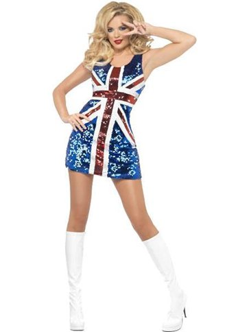Rule Britannia Glitter Dress - Adult Costume front