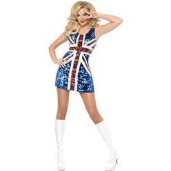 Rule Britannia Glitter Dress - Adult Costume