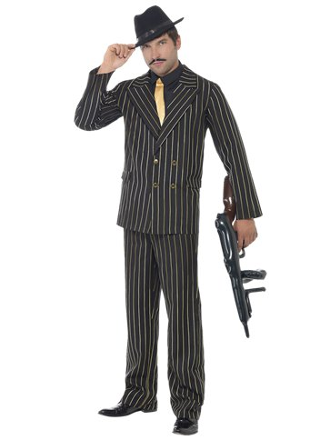 Gold Pinpstripe Gangster Suit - Adult Costume front