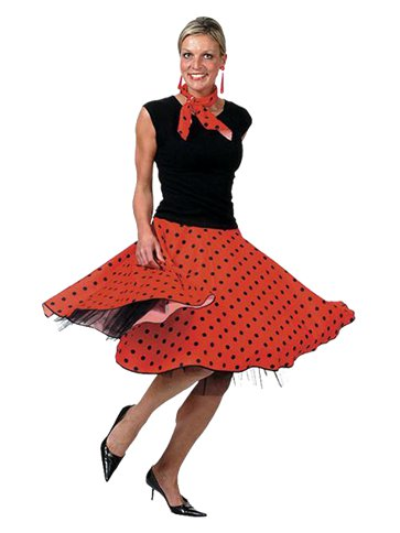 Rock'n'Roll Skirt Red - Adult Costume front