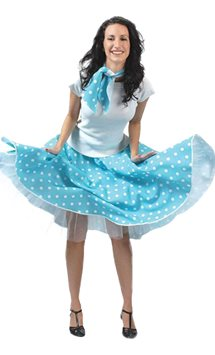 Rock'n'Roll Skirt Blue - Adult Costume