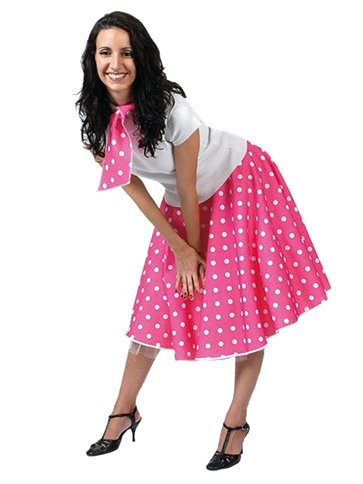 Rock'n'Roll Skirt Pink - Adult Costume front