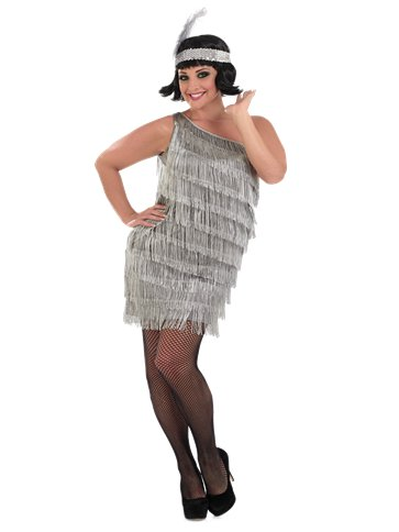 Silver Flapper Dress - Adult Costume front