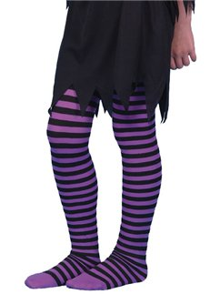 Purple & Black Striped Tights - Child 6-12yrs
