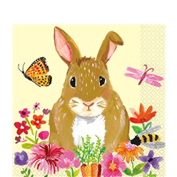 Floral Bunny Lunch Napkins - 33cm