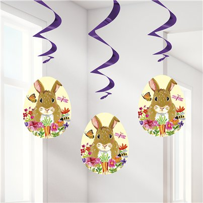 Floral Easter Bunny Hanging Swirl - 66cm
