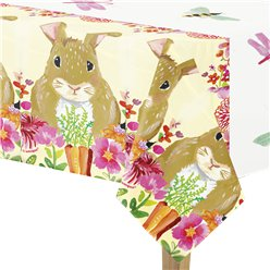 Floral Bunny Plastic Tablecover - 1.3m x 2.1m