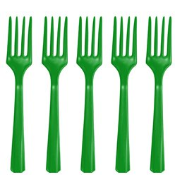 Green Reusable Plastic Forks - 20pk