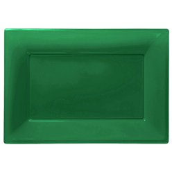 Green Plastic Serving Platters - 23cm x 32cm