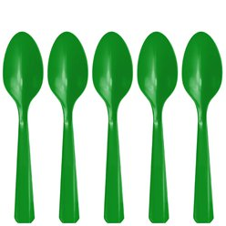 Green Reuseable Plastic Spoons