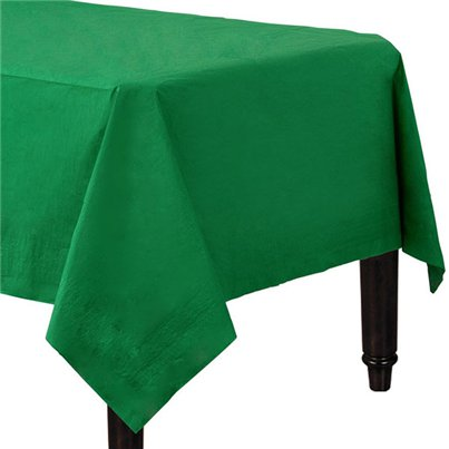 Green Plastic Lined Paper Tablecover - 1.4m x 2.8m