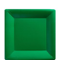 Green Square Plates - 18cm Paper Party Plates