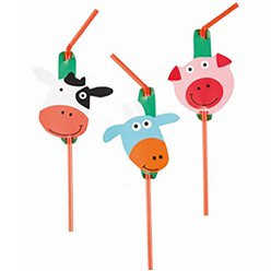 Farm Fun Plastic Drinking Straws