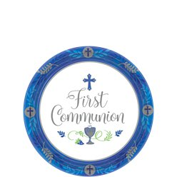 First Communion Blue Paper Dessert Plates - 18cm