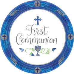 First Communion Blue Paper Plates - 26cm