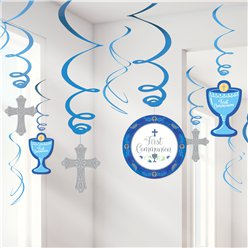 First Communion Blue Hanging Swirls Decorations