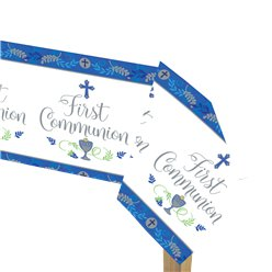 First Communion Blue Plastic Tablecover - 1.8m x 1.2m