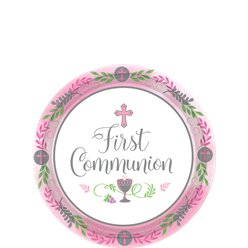 First Communion Pink Paper Dessert Plates - 18cm