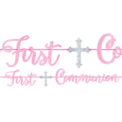 First Communion Pink Foil Letter Banner - 3.65m