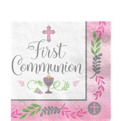 First Communion Pink Paper Napkins - 33cm
