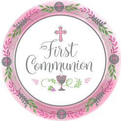 First Communion Pink Paper Plates - 26cm