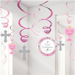 First Communion Pink Hanging Swirl Decorations